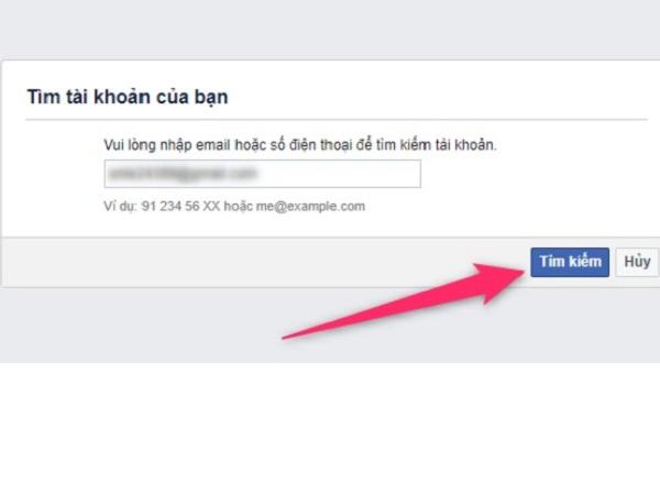 bạn nhập địa chỉ email bạn sử dụng để đăng ký tài khoản Facebook, và sau đó nhấn nút Search (Tìm kiếm).