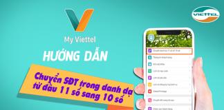 Cách đổi đầu số 11 số về 10 số trong danh bạ bằng My Viettel