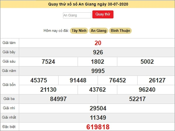 Dự đoán XSAG 30/7/2020