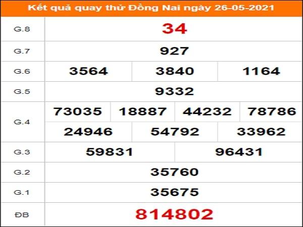 Quay thử Đồng Nai ngày 26/5/2021 thứ 4
